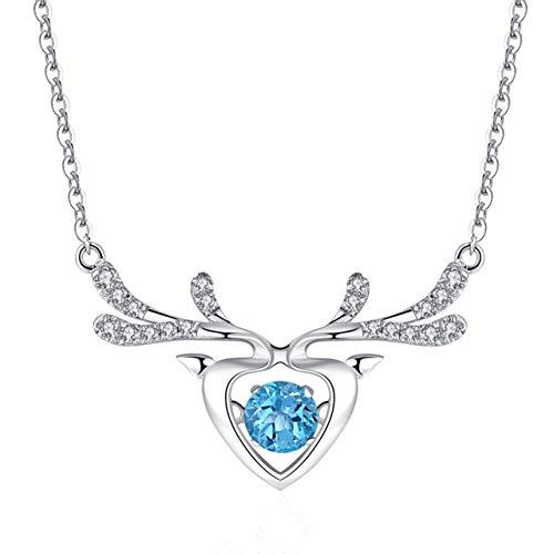 ATMOKO Collar de Mujer, Regalo Originales para Mujer con Zafiro, Caja, Astas de Ciervo, Collar, 925 Plata de Ley