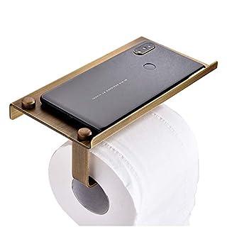 Baffect Toilettenpapierhalter mit Ablage Edelstahl messing Papierhalter vintage WC Rollenhalter wandmontage Klopapierhalter bronze Ablage für Handy ipad, Messingfarbe