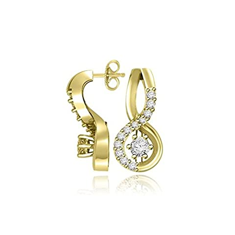 0.27ct G/SI1 Diamond Earrings for Women with Round Brilliant Diamonds in 18ct Yellow Gold