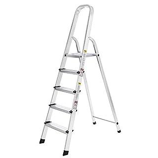 SONGMICS Leiter 5 Stufen, Alu Leiter, rutschfeste Stehleiter, Klappleiter, bis 150 kg belastbar, TÜV geprüft nach EN131 GLT159