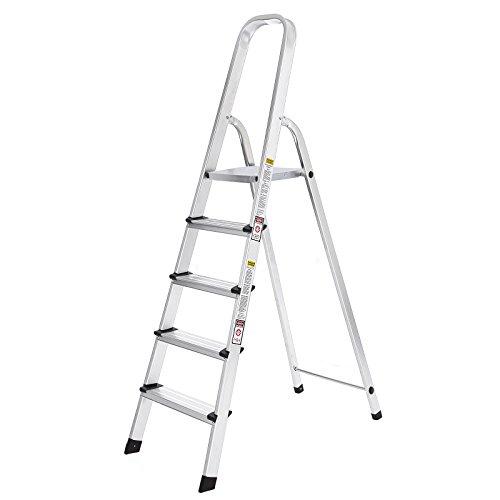 SONGMICS Leiter 5 Stufen, Alu Leiter, rutschfeste Stehleiter, Klappleiter, bis 150 kg belastbar, TÜV geprüft nach EN131, GLT159