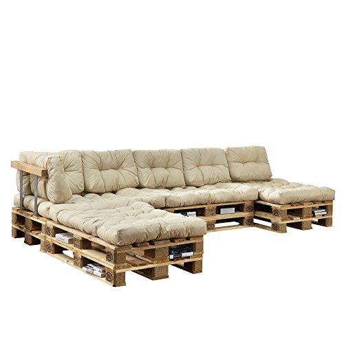Euro Paletten-Sofa 3x Rückenlehne DIY Möbel 3x Europalette 3 x Sitzauflage und 8 x Rückenkissen inkl Weiß Indoor Sofa mit Paletten-Kissen Wintergarten en.casa 3x Armlehne