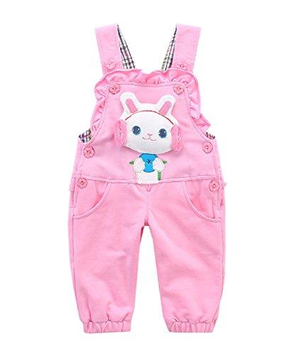 Baby Mädchen Baumwolle Latzhose Kinder Overall Hose mit Hosenträger Kaninchen Rosa - 90
