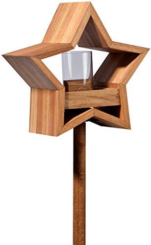 Luxus-Vogelhaus 85075e Stern Design, Ständer aus geöltem Eichenholz, Holz mit Silo, 30 x 14 x 152 cm - 4