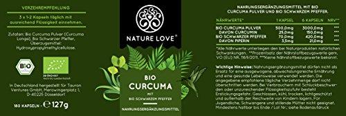 Bio Curcuma (Kurkuma) Kapseln mit 3000 mg pro Tagesdosis – 180 Stück im Monatsvorrat. Zertifiziert Bio. Mit Piperin aus Bio schwarzem Pfeffer. Frei von Zusatzstoffen wie Gelatine oder Magnesiumstearat. Laborgeprüft, mit von Natur aus hohem Curcumin Gehalt. Hochdosiert, vegan und hergestellt in Deutschland - 7