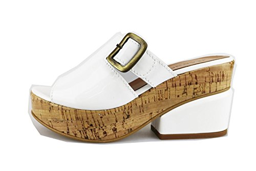 JEANNOT sandali donna 35 EU bianco vernice AG436-B