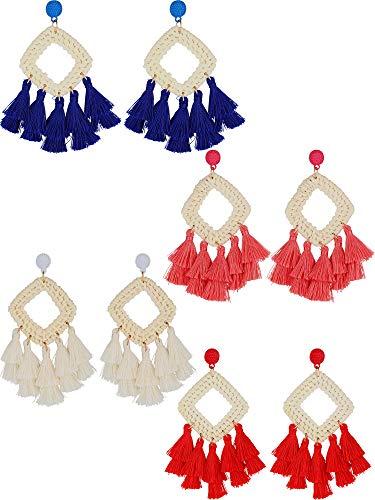 4 Paar Rattan Fringe Ohrringe Bohemian Statement Gewebt Baumeln Ohrringe Geometrische Quaste Ohrringe für Damen Mädchen Gefälligkeiten (White, Red, Pink, Blue) (Blue-outfits Red Mädchen White Und)