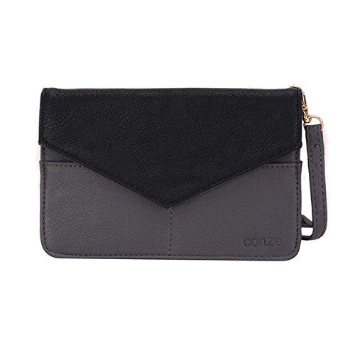 Conze da donna portafoglio tutto borsa con spallacci per Smart Phone per Blu Dash 4.5(2016)/L/L2 Grigio Grey Grey