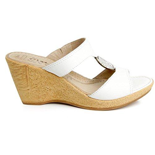 Batz ROXANA Damen Hochwertigem Sommer Sandalen, Sandaletten, Lederschuhe, Schuhe Weiß