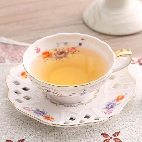 Porzellan Untertassensets Kaffeetassen 2 Teile/Satz 160 Ml Blumenmuster Keramik Drink Set (1 Stück Kaffeetasse + 1 Stück Untertasse) Tasse Schaum Box