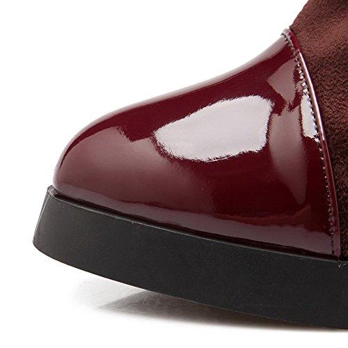 AllhqFashion Damen Hoher Absatz Weiches Material Rein Ziehen Auf Stiefel Braun