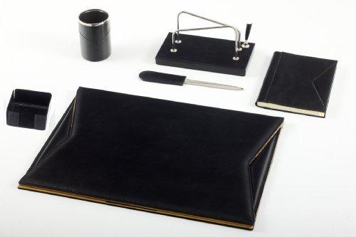 Italienisches Leder-Schreibtischset schwarz | Leder-Schreibtischzubehör - Maruse