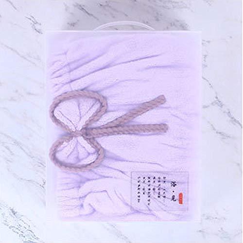 Yuerong Badetuch, Damen, vierteilig, Korallenvlies, Wellenwickel, Duschkleid auf der Brust, Kappe für trockenes Haar, Handtuch, Haarband, Duschkleid, Geschenkset, super saugfähig, weich, Hellviolett -