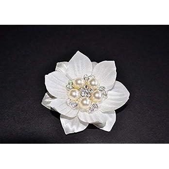 Haarklammer Haarspange Braut Brautjungfer Blumen Strass Perlen weiß ivory