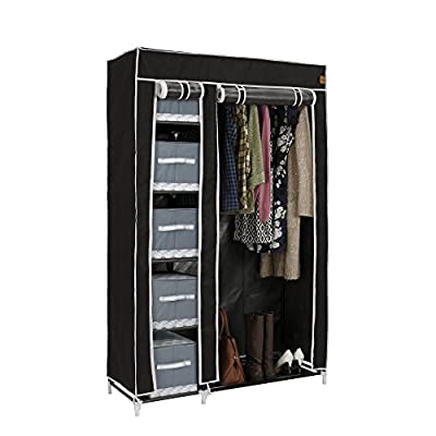 VonHaus Double Canvas Effect Wardrobe Clothes Cupboard Hanging Rail Storage - 6 Shelves - Black - 100 x 175 x 45cm - cheap UK wordrobe store.