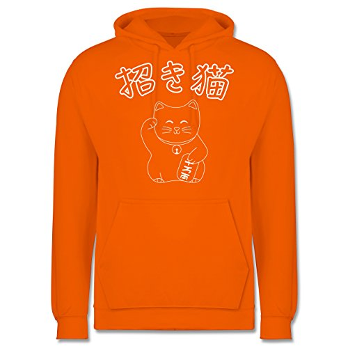 Katzen - Winkekatze- Japanisch - Männer Premium Kapuzenpullover / Hoodie Orange