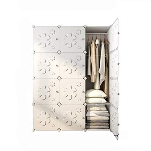 PTDJY PC-Harz-materieller einfacher Garderoben-Speicherkabinett-Plastikspeicher-Organisator-Harz-Versammlungs-Kombinations-faltender doppelter Erwachsener einfacher Schrank (Color : White) (Breeze White Kleid)
