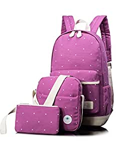 Leaper Girls Canvas Backpack Cute School Laptop Travel Backpack Shoulder Hand Bag Purse for Boys 3PCS Purple