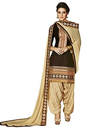 Kessi Fabric brown (Crepe printed) patiala suit for women