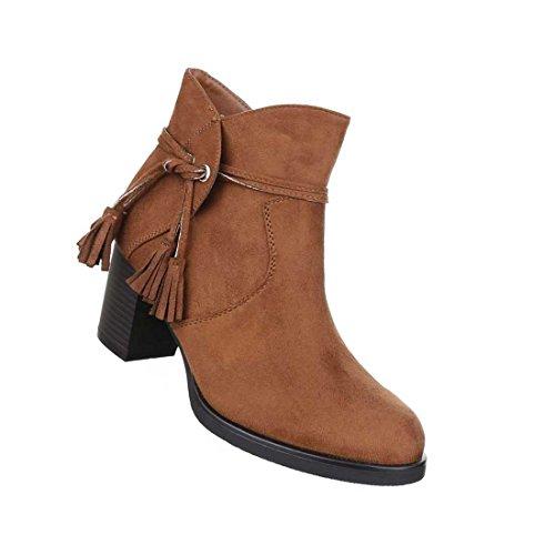 Damen Boots Stiefeletten Schuhe Schwarz Camel Grau 36 37 38 39 40 41 Camel