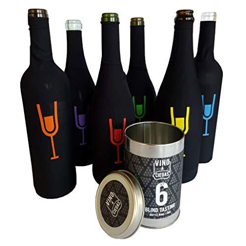 """FÁCIL DE COLOCAR  Cada funda al ser un producto adaptable es fácil de colocar. ADAPTABLE  Este material lo hace adaptable a cualquier botella de 75cl!! REUTILIZABLE  El material de elastano hace que las fundas sean reutilizables. """"Vino a ciegas"""" únic..."""