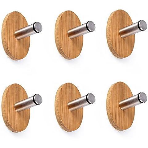 OakLeaf 6 Pezzi Parete Ganci Appendiabiti Autoadesivi Acciaio inox + legno
