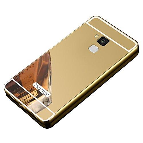 Huawei Honor 5C Hülle,Vandot Acryl Spiegel Handyhülle für Huawei Honor 5C Hardcase Metal Rahmen Schutzhülle Überzug Mirror Effect Crystal Kirstall Clear Glizter Bumper Handy Gürtel Tasche Schale Case Cover-Gold (Gold 5c Screen Protector)