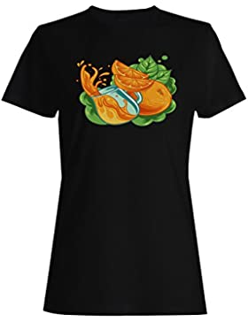 Sabroso jugo de naranja cóctel cocinero divertido frutas camiseta de las mujeres c502f