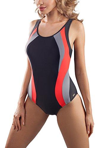 aQuarilla Damen Schwimmanzug AQ72 Graphit/Rot