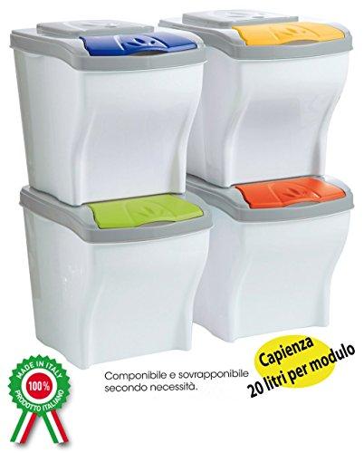 Mobile pattumiera contenitori componibili 4pz x 20lt per - Contenitori spazzatura casa ...