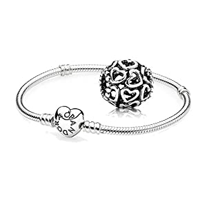 Original Pandora Geschenkset – 1 Silber Armband mit Herz Schließe 590719 und 1 Silber Charm Öffne Dein Herz 790964