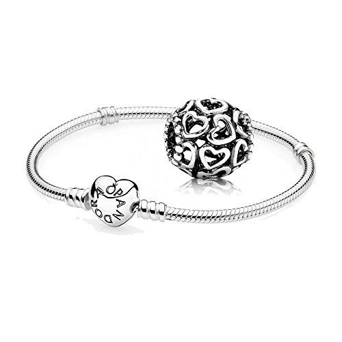 Original Pandora Geschenkset - 1 Silber Armband 590719-18 mit Herz Schließe + 1 Silber Element 790964 Herzstrudel
