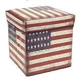 Générique 'Tabouret et boîte de Rangement 2en 1-USA Stars & Stripes-30x 30x 30cm, rembourré Couvercle