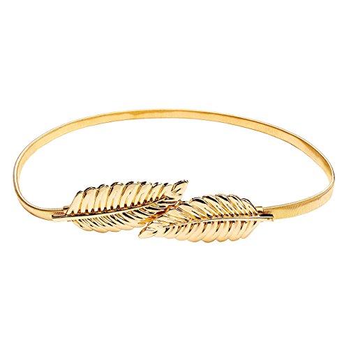 t Gürtel Stretchgürtel Taillengürtel Hüftgürtel elastisch Metall Kleidgürtel (Blätter-Gold) ()