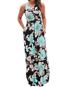 Homebaby® Floreale Abiti Lunghi Donna Eleganti Con Tasche- Estivi Vestiti Casual Donna - Vintage Maxi Abito Abiti...
