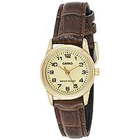 Casio Watch For Women Analogue Quartz Ltp-V001Gl-1B, Brown Band