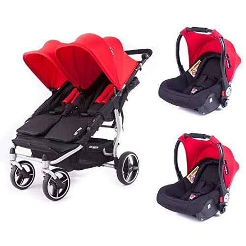 Poussette double Baby Monsters Easy Twin 3S Reversible - Chassis Silver + 2 sièges auto Luna Rouge