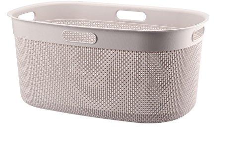 FILO Wäschebox 45L, Plastik Wäschekorb, Wäschesammler aus Kunststoff, Wäschebox 39x27x59cm, Wäschetonne (Beige)
