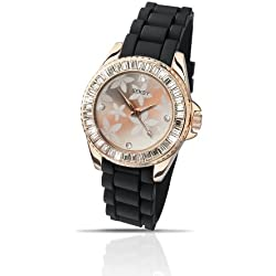 Seksy Party Time by Sekonda Rose gold plated Black Silicone Strap Watch 4561