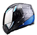 Henpooseng Casque de Moto Racing Iron-Man Casque de Moto intégral Spider Double lentille Casco Moto Spider Man Gray M
