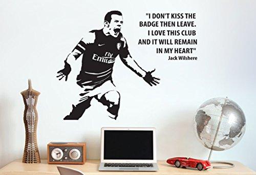 Jack Wilshere Arsenal Zitat Wand Aufkleber Aufkleber Fußball Kunstdruck für Home Schlafzimmer Wandbild (weiß)