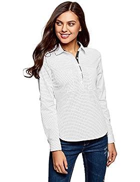 oodji Ultra Mujer Camisa Básica con Bolsillos EN el Pecho