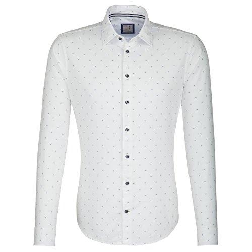 Seidensticker Herren Langarm Hemd Schwarze Rose Slim Fit Washed Oscar Plain weiß / blau strukturiert 443650.02 Weiß