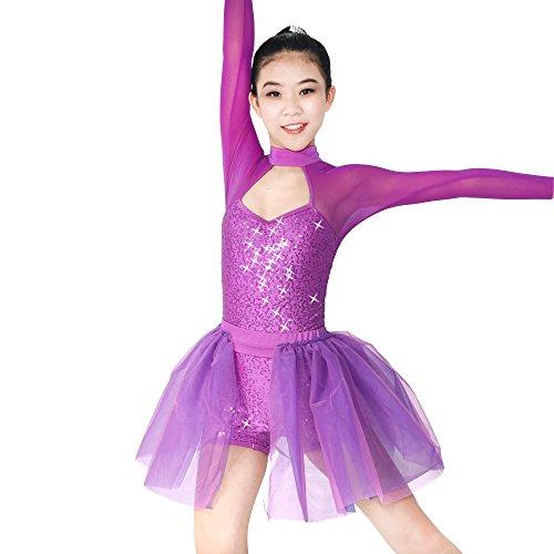 Tanz Kostüm Zeitgenössischer Unitard (MiDee 2 Stück Voller Pailletten Hohe Hals Lange Illusion Ärmel Ballett Tanz Kostüm Kleid (Magenta,)