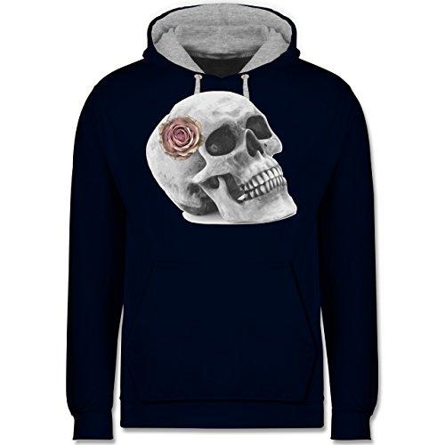 Rockabilly - Totenkopf Rose Vintage Skull - Kontrast Hoodie Dunkelblau/Grau  meliert