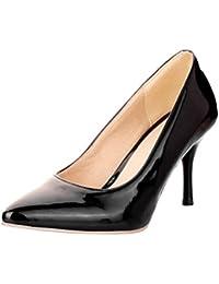 Vitalo Donna Scarpe Decolte Eleganti Vernice da Lavoro a Punta Slip on con  Alto Tacco a e900b474dda