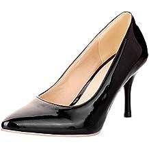 Vitalo Donna Scarpe Decolte Eleganti Vernice da Lavoro a Punta Slip on con  Alto Tacco a e10a4638c9e
