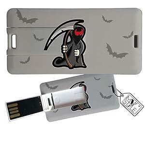 """My Custom Style® Pen Drive USB Portachiavi """"MINI CARD"""" rettangolare (dimensioni 3x6cm) ultrapiatta (0,3mm) modello """"Halloween - L'Angioletto della Morte"""" da 16Gb. Non accontentarTi della solita banale Pen Drive !"""