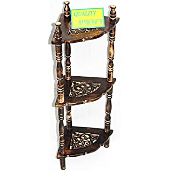 QUALITY HANDICRAFTS Wooden Mini Corner Rack Side Table with 3 Shelf for Living Room Decor