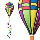 Windspiel - Satorn Balloon TWISTER RETRO - wetterbeständig - Ballon:Ø25cm x 35cm, Korb: 4cm x 3.5cm, Spirale: Ø10 cm x 75cm - inklusive Aufhängung